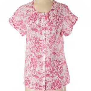 NWT Van Heusen Pink Floral Summer Blouse Small